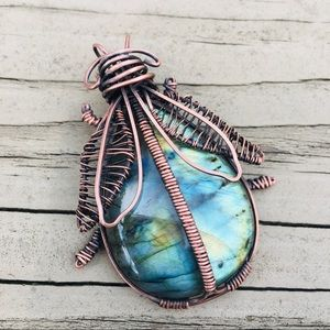 Labradorite Beetle wire wrapped pendant necklace